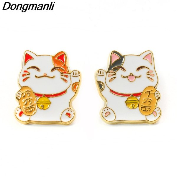 P3686 Wholesale 20pcs/lot Lucky Cat Cute Metal Enamel Pins and Brooches for Lapel Pin Backpack Bags Badge Cool Gifts