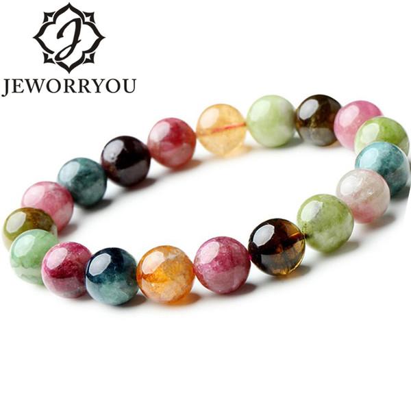 Perline rotondo Colore Pinky Bracciali braccialetto delle donne per le ragazze regalo di Natale 7-10mm Brasile Tourmaline Bracciale Pietra