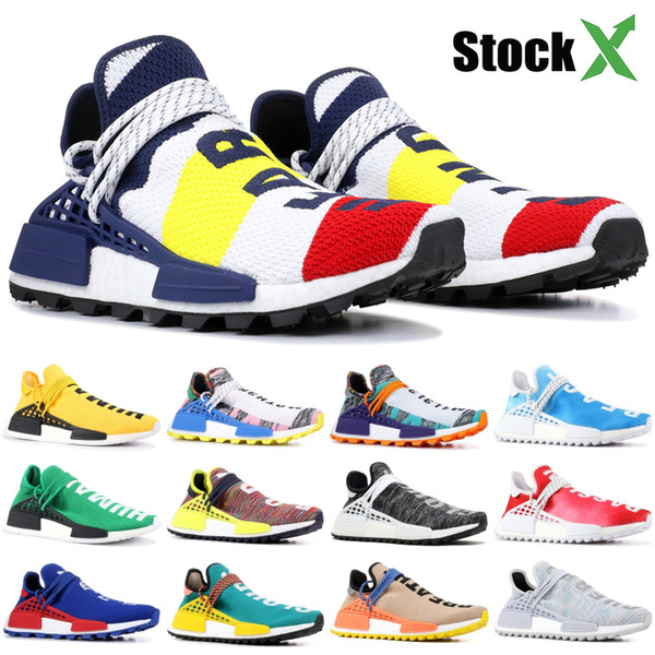 best selling NMD Human Race Running Shoes With Box Yellow BBC Hu Pharrell Solar Pack Red Orange Nerd Peace Designer Shoes Men Women Sneakers 36-47