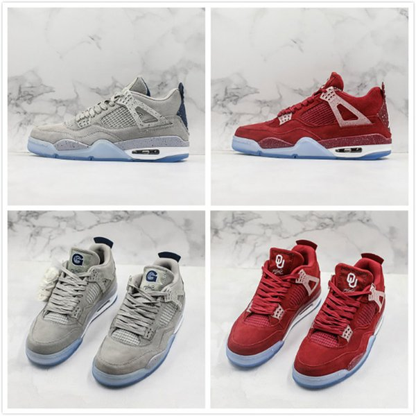 New Limited Update Basketball Shoes 4 4s Red Grey Leather High Quality Mens Designer Athletic Sports Shoes