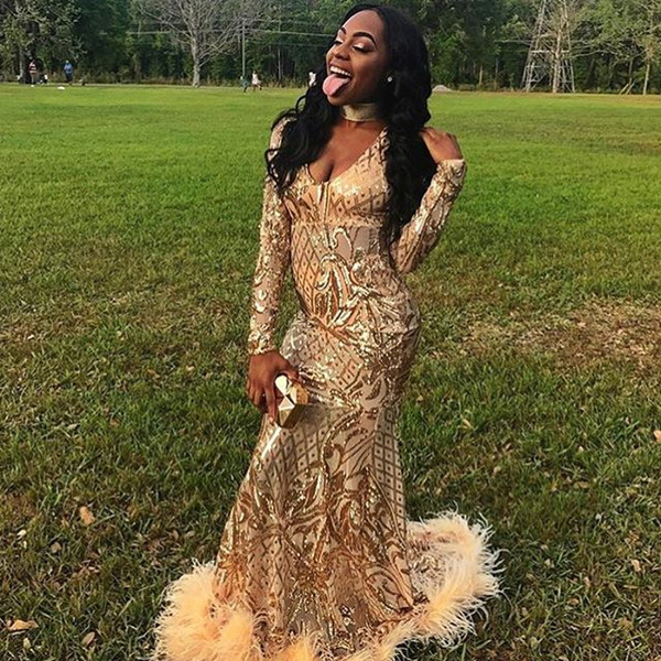 Sexy ouro sereia vestidos de baile 2019 manga comprida Sparkly lantejoulas rendas Evening Formal vestido de festa menina negra Africano pena pageant vestido