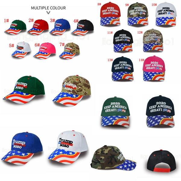 14styles Donald Trump baseball hat Star USA Flag Camouflage cap Keep America Great 2020 Hat 3D Embroidery Letter adjustable Snapback FFA2769