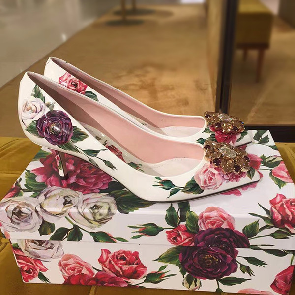 New D Rose Flower Rhinestone Wedding Prom Party Pumps Print Mary Jane Shoes Women