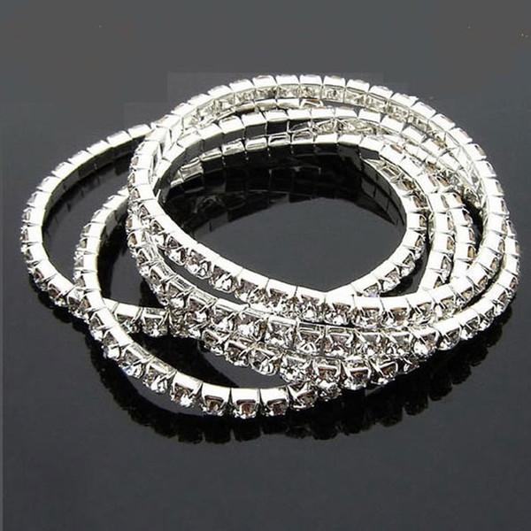 Argent sterling 925, 1 rangée, ligne, bracelet en cristal avec strass clair Bracelets de tennis Bracelets joncs de zircon