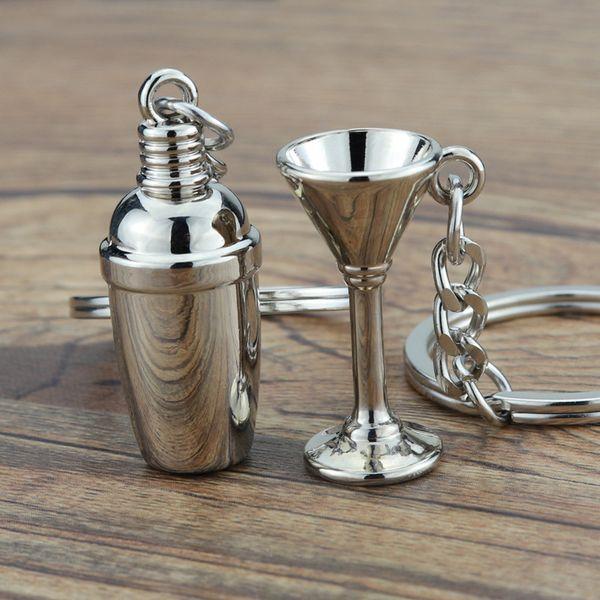 Mini Anahtarlık Anahtarlık Kokteyl Shaker Anahtarlıklar Sevimli 3D Şarap Bardağı Promosyon Hediye Takı Moda Çinko Alaşım Araba Anahtarlıklar Tutucu aksesuarları
