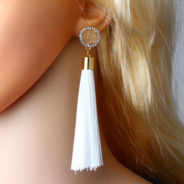 Hot new big shop name long temperament tassel earrings upscale diamond word tassel drop earrings female