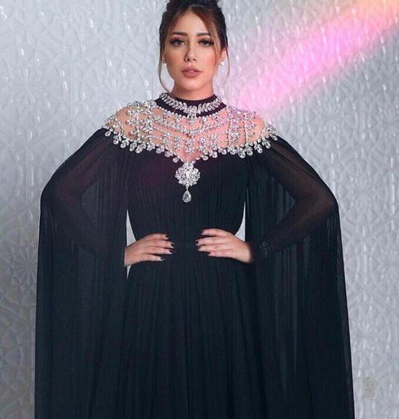 Evening dress Yousef aljasmi Labourjoisie Zuhair murad 956A-Line High Collar Long Sleeve Black Chiffon Beaded Crystal Long Dress James_paul