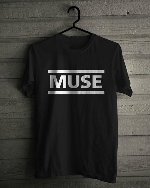 Musa Camiseta Música Rock Logotipo Da Banda Preto Tee Tamanho S M L Xl 2Xl 3Xl Manga Curta Em Torno Do Pescoço T Camisa de Design de Promoção Top Tee