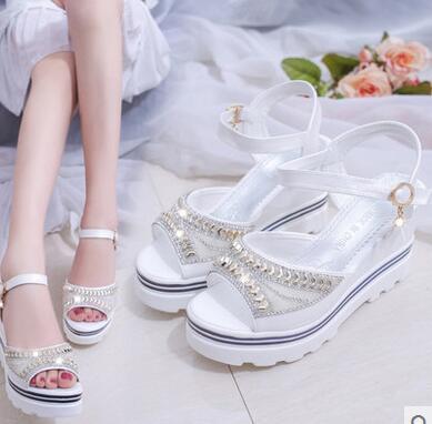 Zapatillas de mujer New Fashion Zapatillas muffins y zapatos con tacones de fishmouth en verano