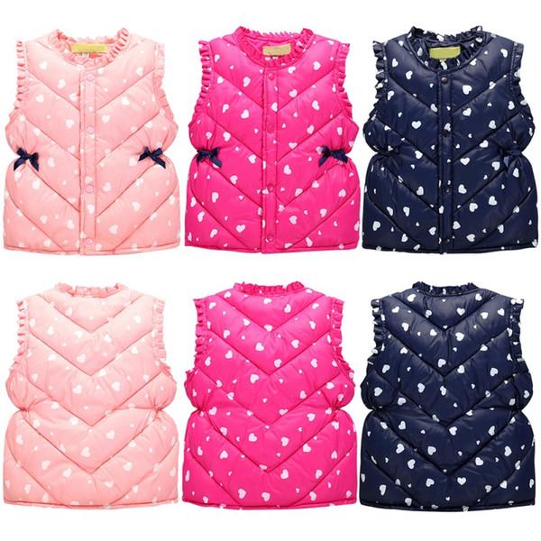Çocuk Giyim 3-Style için Kız Yelek Çocuk Kabanlar İçin Tatlı Çiçek Çocuk Kız Ceketler Pamuk Sıcak Çocuk Yelek