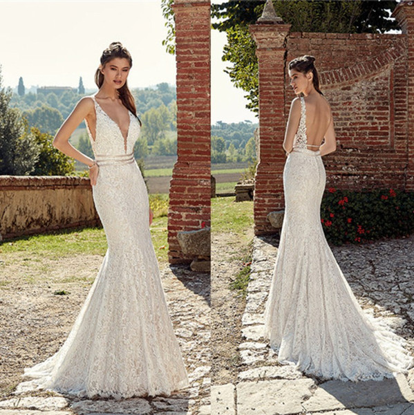e9b414b1428 2019 Full Lace Mermaid Wedding Dresses Sexy Open Back Spaghetti Straps V  Neck Sweep Train Wedding