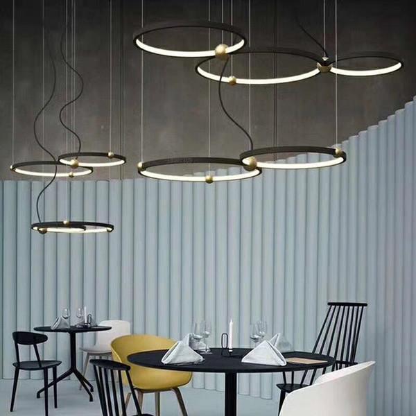 Fashion Indoor Lighting Modern LED Pendant Lamp Rings Suspension Luminaire Black New Light Fixture Home Art Deco Hanging Lights