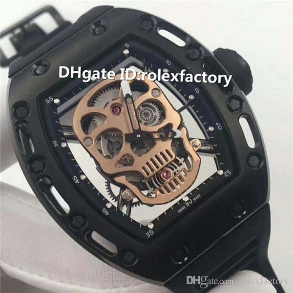 Top Luxury 052 skull Dial Watch Automatic 28800vph Titanium Alloy Case Sapphire Crystal Rubber Strap transparent case back Mens Watch