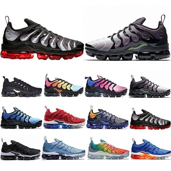 2019 Nike Air Vapormax plus TN Plus Chaussures de course Hommes Femmes Jeu Royal Rainbow aqua blanchi TRIPLE BLANC NOIR Fades Bleu VOLT Formateur Designer Sneakers 36-45