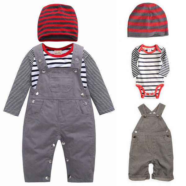 best selling Baby Suspender Clothing Sets Kids Striped Romper + Suspender Pants + Striped Hats 3pcs set Spring Children Leisure Cotton Outfits M1295