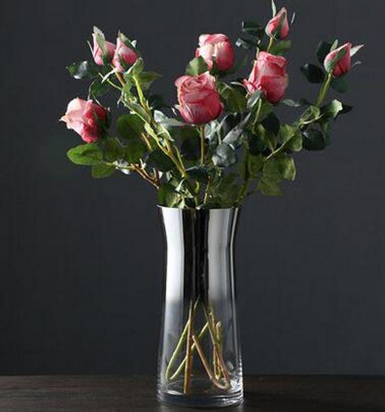 Glass vase Nordic minimalist living room large water culture flower arrangement rose lily glass vase table decoration decoration