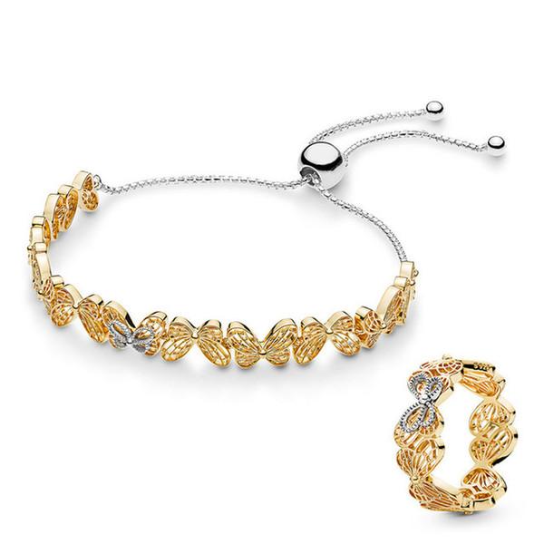 Fanier 100% 925 Sterling Silver Nuovo Butterfly Oceanic Pulse Ring Set Pantofola regolabile Taglia 567957 167947 Griglia gratuita