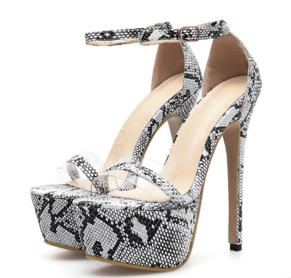 Women Sandals Platform Shoes Snake Print Sexy Nightclub Pumps Open Peep Toe High Heels Ladies Party Dress Sandals