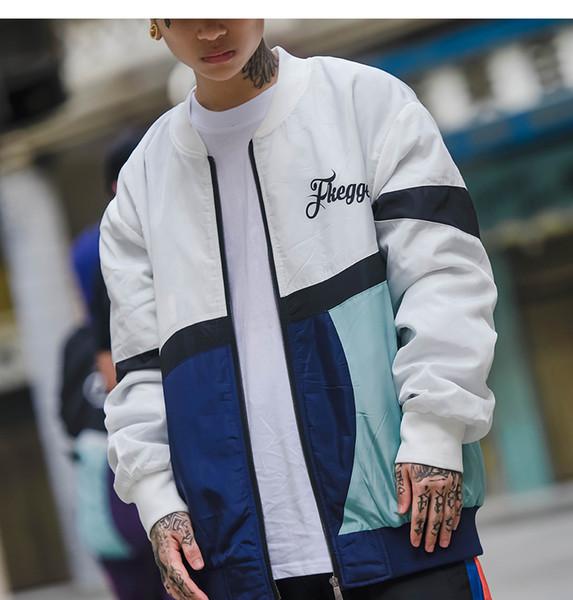 2019 Nuove giacche vintage a blocchi di colore Stampa a righe Lettera Giacca a vento maschile Capispalla Hip Hop Giacche da skateboard streetwear