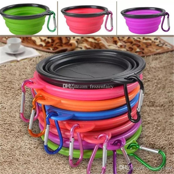 Silicone Folding Dog Feeding Bowl Collapsible Cats Water Dish Cat Portable Feeder Puppy Travel Bowls 8 Colors aa128-aa135 2017112923