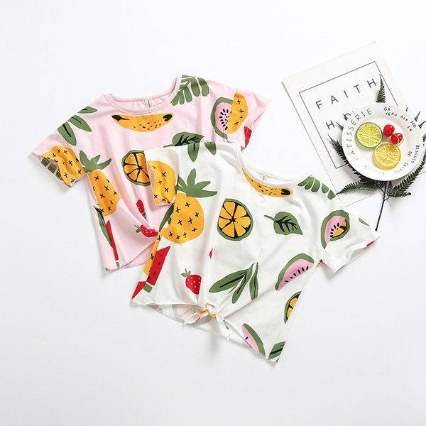top popular Kids Girl T-Shirts INS Baby Fruit print Summer Tops Children Boy Girl Short Sleeve Tees 2Colors 5size 2020