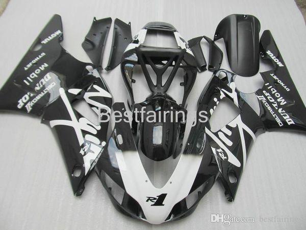 ZXMOTOR 7 gifts fairing kit for YAMAHA R1 1998 1999 white black fairings YZF R1 98 99 HS23