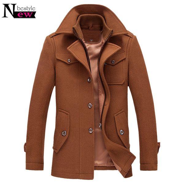 New Warm Wool Coat Men Stand Collar Men Coat Winter Trench Long Jacket Single Breasted Windproof Woolen Coats Mens Overcoat