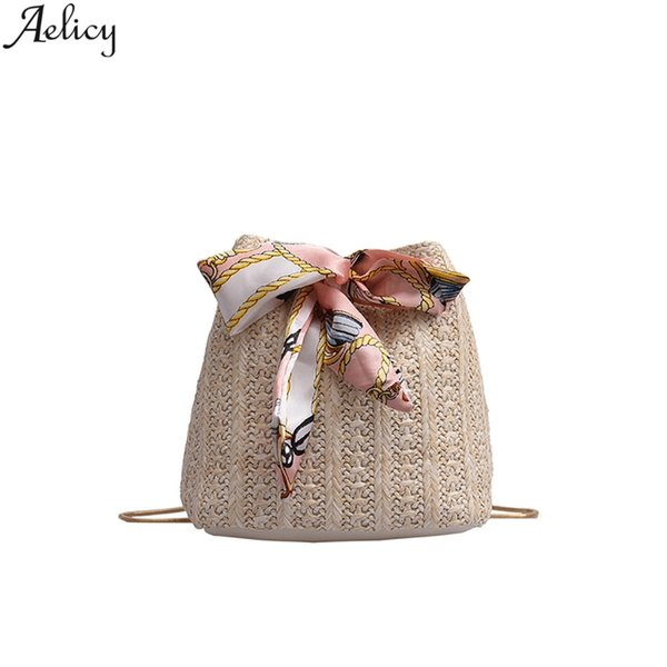 Aelicy Women Pastoral Style Summer Ribbons Straw Hobos Bag Fashion Small Oval Shoulder Bag Designed Messenger Hot Sales
