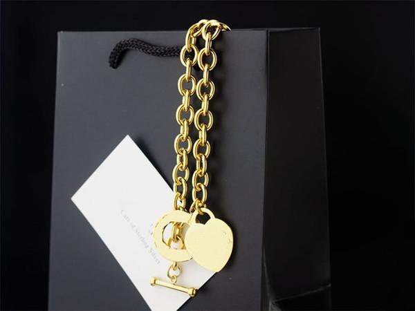 2019 nuovo arrivo oro sottile chian due collane con ciondolo cuore a buon mercato vendita calda a buon mercato Charms formato libero con scatola e borsa da viaggio