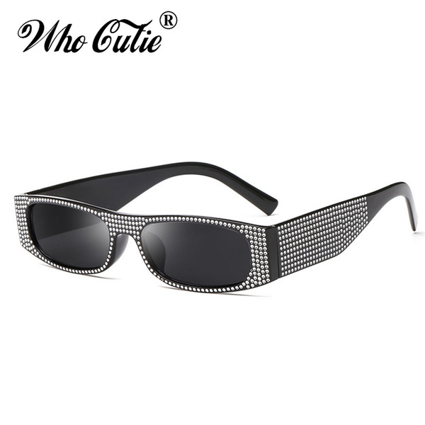 WHO CUTIE Rhinestone Luxury Sunglasses Women Fashion Brand Design 2018 Vintage Retro Narrow Rectangular Sun Glasses Shades OM712