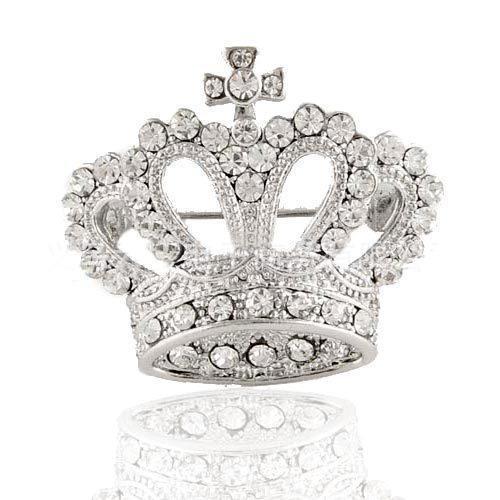 Wholesale- Tiara Brooch Decorative Garment Crystal CZ Diamond Jewlery Wedding Bridal Shiny Rhinestone Silver Crown Brooch Pin For Women