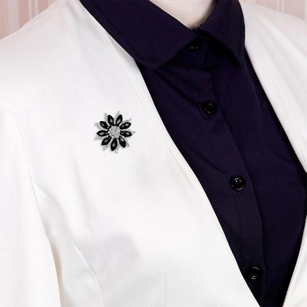 Nero e viola resina ovale pietre e argento del Strass Fiore Pin Spilla In placcato Colore
