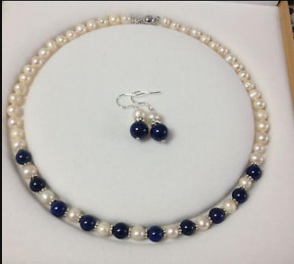 jewelry hot Free Charming!White Akoya Cultured Pearl/Lapis Lazuli necklace earrings set LD751