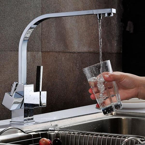 ROLYA Cubix Квадрат Кухня Раковина Смеситель кран Chrome 3 способ Фильтр для воды Tap
