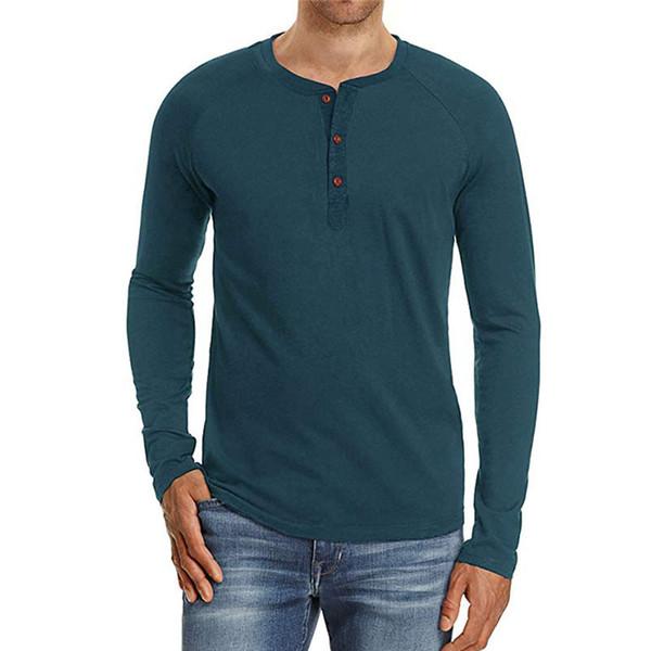 Chemises Casual Pour Hommes Slim T-shirt À Manches Longues En Mélange De Coton De Mode Coupe Basique Fit Top Nouveau