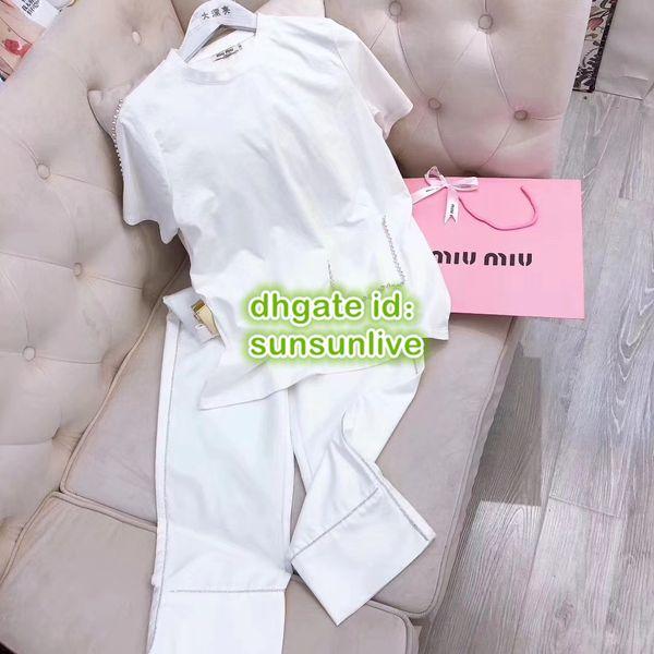 Mujeres de gama alta sueltos bolsillo Rhinestone Pantalones de dos piezas Pullover Tee camiseta + pantalón de pierna ancha Pantalones Chicas camiseta Marca de impresión informal Conjuntos 2019