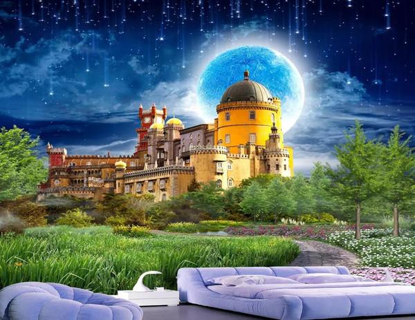 Großhandel Fertigen Sie 3D Tapete Wandbild Europäischen Stil Stereoscopic  Castle Landschaft Tapete Für Kinderzimmer TV Hintergrund Fototapete An Von  ...
