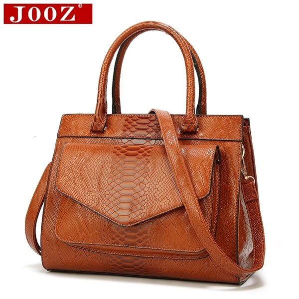 JOOZ New Fashion Woman Bag Luxe cuir Serpentine Women's leather Handbags With pouch Ladies Trunk Tote bolsos Women messenger bag V191209