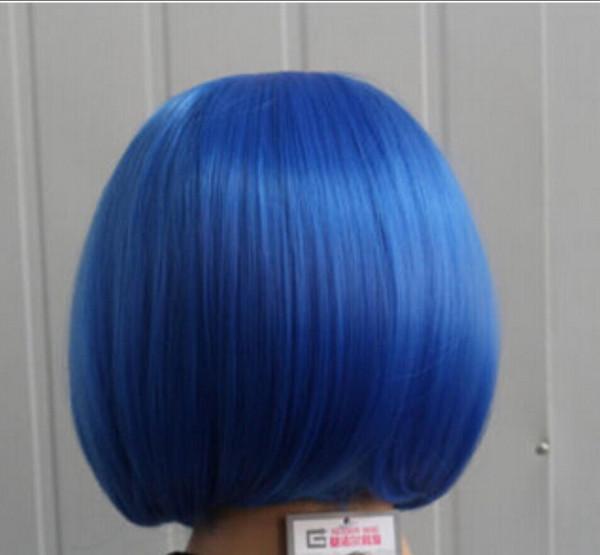 Peruk moda seksi güzellik kısa mavi düz düzgün patlama sentetik peruk