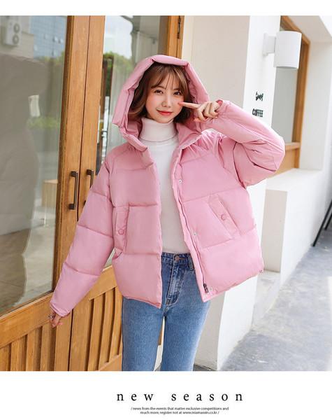 Mode Weibliche Winter Anorak Casual Candy Farbe Frauen Mit Kapuze Mäntel Weibliche Daunen Baumwolle Parkas Mit Reißverschluss Fliegen