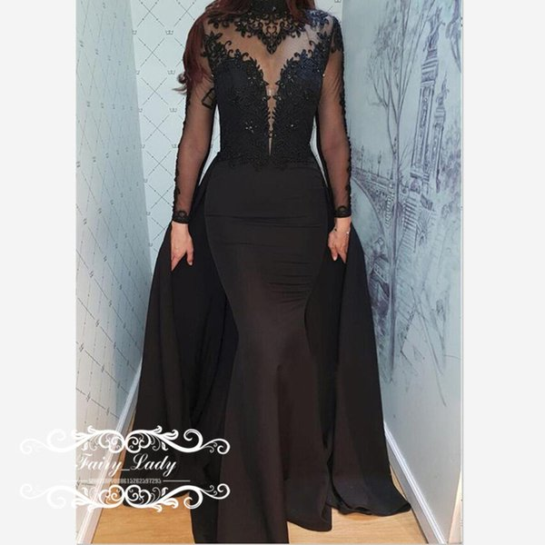 Fabulous Mermaid Evening Dresses In Black Lace Top and Satin Skirt 2019 Long Sleeves Appliques Beads Prom Dress Pageant For Women