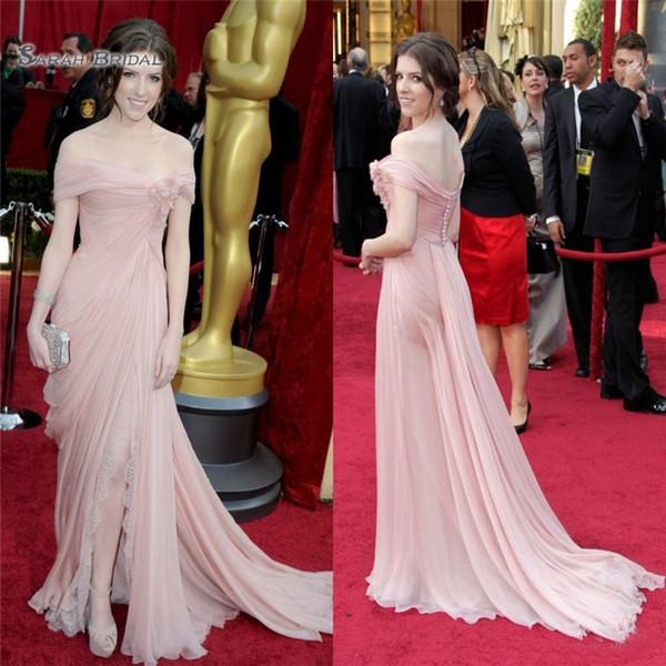 Blush Off Shoulder Sheath Evening Celebrity Dress Runway Fata incinta con abiti da ballo Split Elie Saab