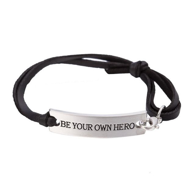 GX105 High Quality Silver Plated Inspirational Quote Be Your Own Hero Charm Leather Bracelet for Women Fashion Jewelry