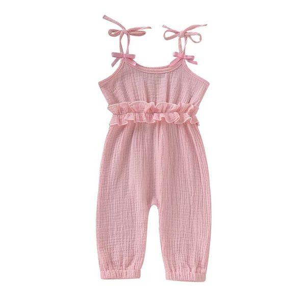 INS élégant infantile bébé filles salopettes barboteuses conception d'été vierges volants vêtements combinaisons jupes enfant tenues en coton Body jarretelles 0-2T