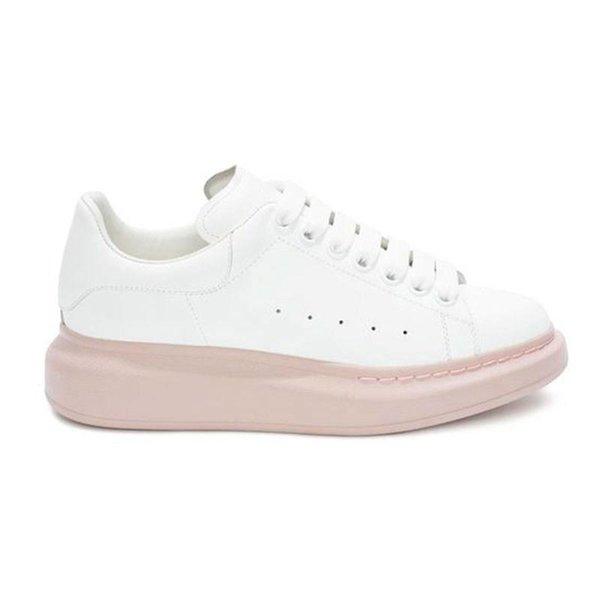 Blanc avec semelle rose