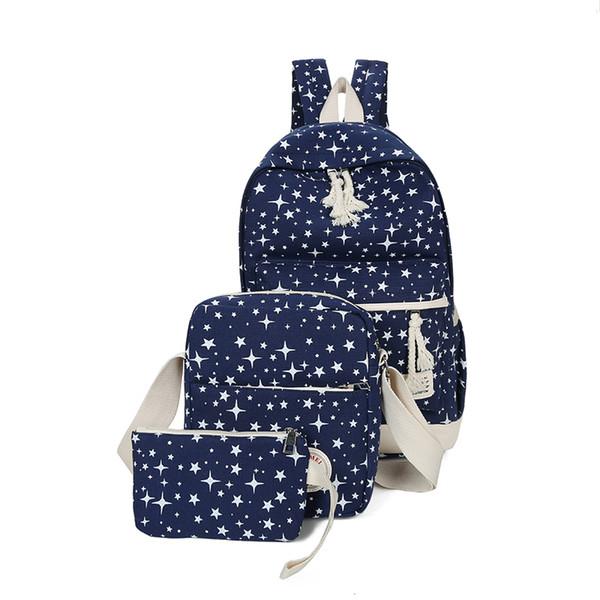 Dropshipping School Bag Set Canvas Stars Print Backpack+Crossbody Bag+Pencil Bag For Teenage Girls Boys Bookbag Daily Laptop