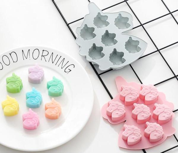 7 hohlraum einhorn kuchenform silikon diy einhorn geformt backenwerkzeuge dekorieren cookie schokolade backform