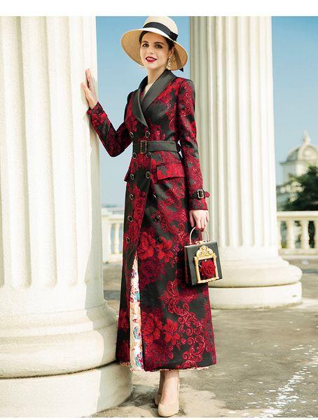 2019 nova primavera das mulheres trincheira casacos de poliéster impressão do vintage double-breasted lapela pescoço moda casacos fino longo outerwear da mulher dz2086