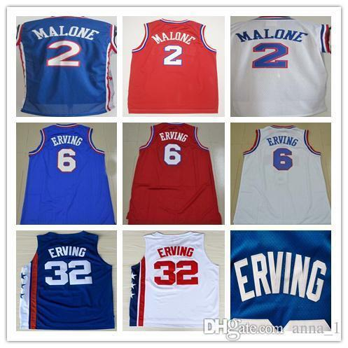 best selling Men's Stitched Retro 2 Moses Malone 6 Julius Erving Jersey Blue Red White 32 Julius Erving 13 Wilt Chamberlain college Basketball Jerse
