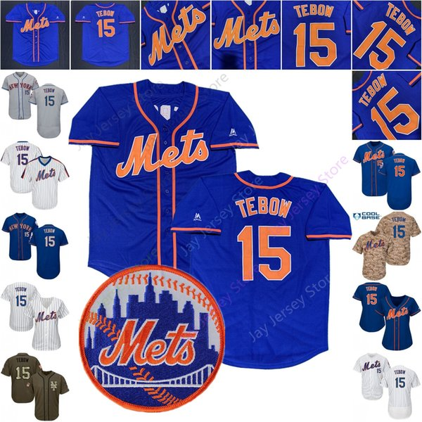 competitive price 5ba54 86bf1 2019 Tim Tebow Mets Jersey Cool Base Baseball New York 15 Home Away White  Pinstripe Blue Camo Pink Men Women Youth Kid From Davidjersey, $16.26 | ...